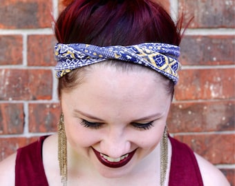 Navy and Yellow Geometric Headband- Twist Front