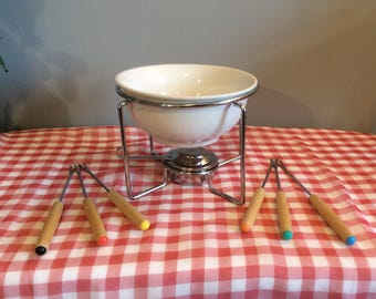 Vintage Chocolate Fondue Set, White Ceramic Fondue Pot, Fondue Set including 6 forks