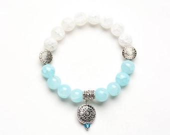 3-MANDALA BEADED BRACELET - 10mm White Crackle Quartz and Aqua Beads - Yoga - Spiritual Jewelry