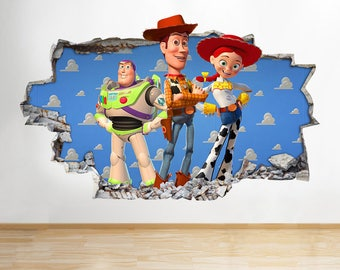 H172 Toy Story Characters Smashed Wall Decal Poster 3D Art Stickers Vinyl  Room Kids Bedroom Baby Part 78