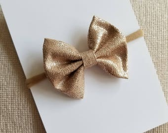 Rose Gold Shimmer Bow Headband