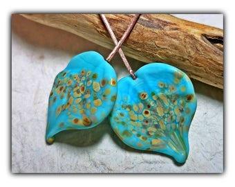Turquoise Sky Falling Leaf Headpins**Handmade Lampwork Beads**