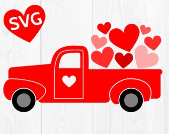 Love Truck SVG Valentine Truck SVG cut file for Cricut, Truck with Hearts SVG for Valentine's Day cards and gifts, Valentines svg design
