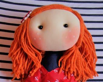Luly redhead Marinera. Unique dolls, drawn from dreams.