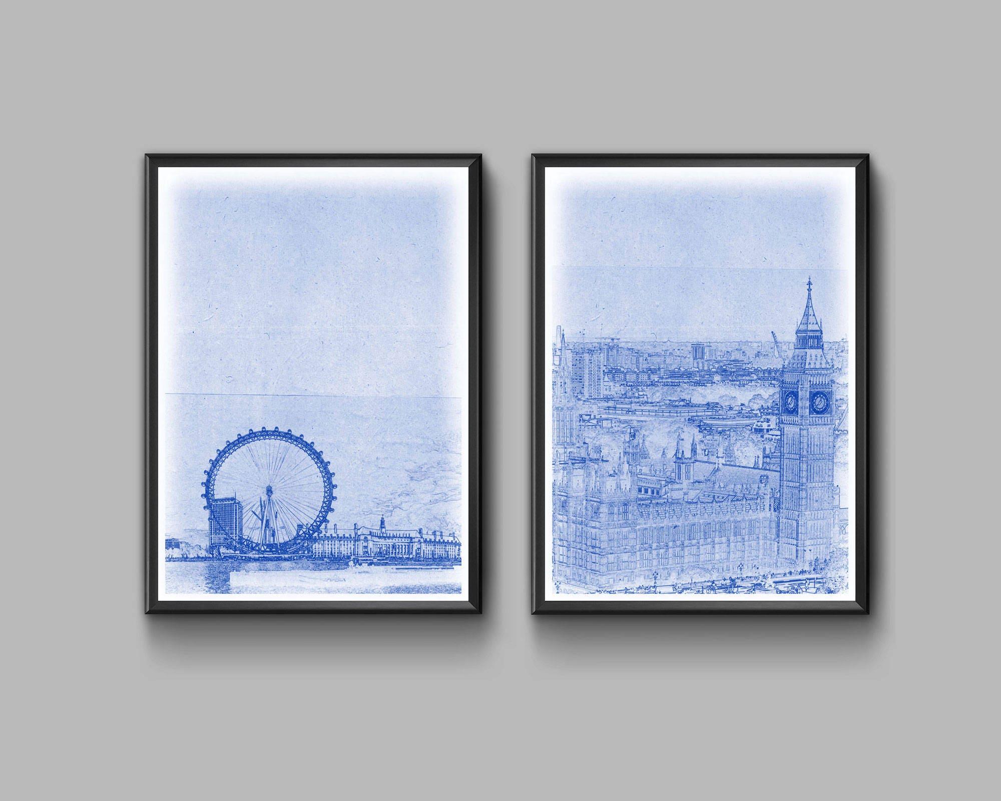 London blueprint poster set high quality digital print zoom malvernweather Image collections