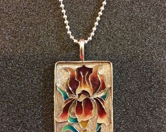 Cloisonne silver orchid pendent includes silver chain
