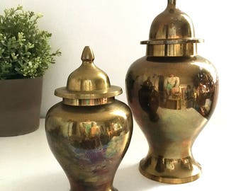 Pair of Vintage Brass Gold Ginger Jars Urns Hollywood Regency Chinoiserie