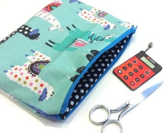 Pouch of Grouch 06: Llama Pencil Case with Polka Dot Lining (22.5 x 15 cm)