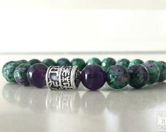 Beaded bracelet epidote and Amethyst Tibetan silver piece