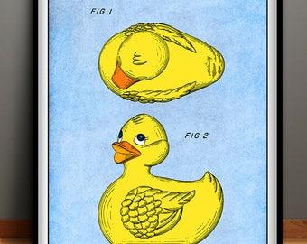 1981 Rubber Ducky Patent Print, Nursery Wall Art, Kids Room Art, Childs Room