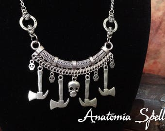 Skulls and hammers macabre necklace