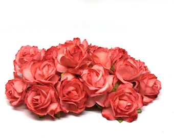 Deep Salmon Classic Mulberry Paper Roses Cr046