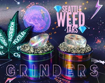 Rainbow Herb Grinder made with an Aura Quartz & surrounded by Clear Quartz chunks! For your Weed.