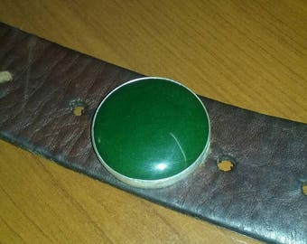 Leather cuff with Jade Stone set in sterling