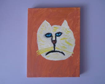 SHURBET Melancholy Cat Original Painting on Canvas