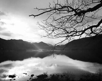 Black and White Derwent Water View