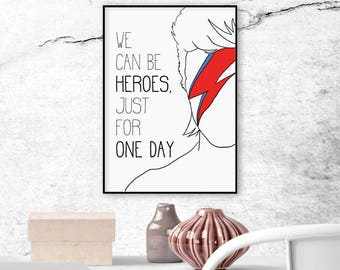 Printable Quote, Instant Download, Inspirational Wall Art, Quote Print, Famous quotes, Printable Poster, David Bowie quote, Music poster