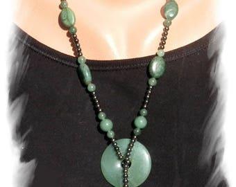 AVENTURINE, HEMATITE, TRANSVAAL JADE necklace, 925 Silver