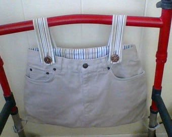 beige blue white walker bag