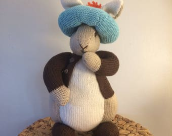 Benjamin Bunny hand knitted figure