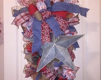 Texas Wreath,Texas Door Swag,Texas Door Hanger,Lone Star Door Swag,Lone Star Door Hanger,Lone Star Wreath,Front Door Wreath,Wreath,Texas