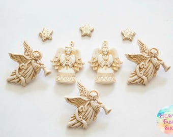 Gold Angel Buttons and Glitter Star Charms Set