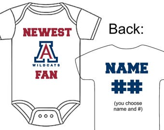 Newest Arizona Wildcats Fan Custom Made Personalized Baseball Gerber Onesie Jersey + Optional Socks Hat Choose Name & Number Great Baby Gift