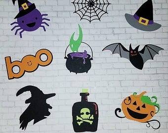 Halloween Cupcake Toppers Witch Pumkin Poison Bat Spider Witch Hat Fun Cupcakr Toppers for Halloween 24 ct