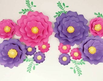 Pink Paper flowers wall.  Large purple flowers wall decor. Nursery flowers decor. Baby shower decor.  Flowers for nursery. Pink 3D flowers.