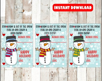 Printable Holiday Redbox Gift Tags - Stay Warm and Out Of The Snow, Curl Up and Enjoy a Good Show! - Snowman Printable