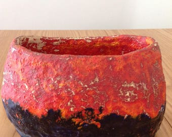 Vintage 60-70's STUDIO ART, Orange Fat Lava, Blue Vase., West German Pottery