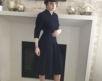 NAVY BLUE 1940'S DRESS