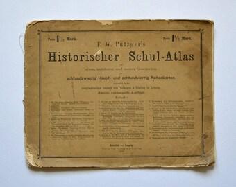 Vintage Germany 1879 Maps School Atlas