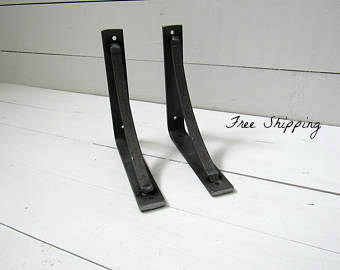 "Petite Modern Industrial Shelf Brackets, 1"" wide with 1/2"" support bar"