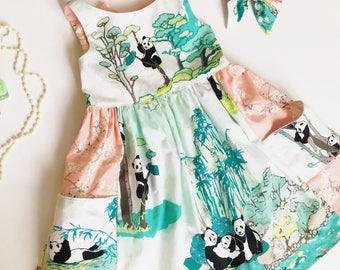 Spring Panda Girls Dress- Cherry Blossom Dress- Pocket Dress