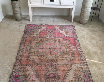 "Vintage Hand Knotted Oriental Authentic Turkish Rug 6'10""x 3'11""FREE SHIPPING!!!"