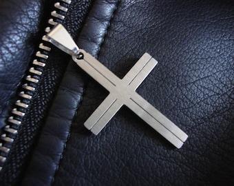 Mens silver cross Steel cross pendant necklace Men's Cross Necklace Stainless Steel pendants Gifts for dad Mens Jewellery Religious Pendants
