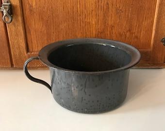 Vintage Blue Gray Speckled Enamelware Chamber  Pot