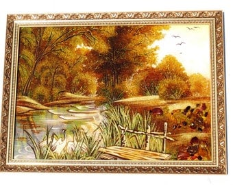 Bridge nature reeds amber gift nature square on the wall yellow decor svadba anniversary on the wall wooden frame for a friend gold image