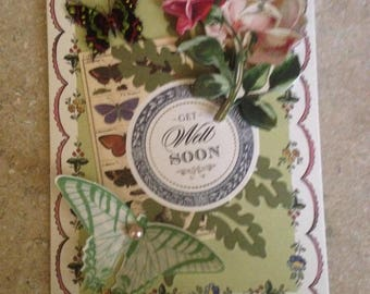 Get Well Soon Card/Handmade Card/Floral/3D/Green & Lavendar/Pink Roses with plenty of Butterflies