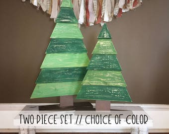 Large Rustic Wood Christmas Trees - Set of TWO // Wood Christmas Tree // Christmas Decor // Winter Decor // Farmhouse Decor