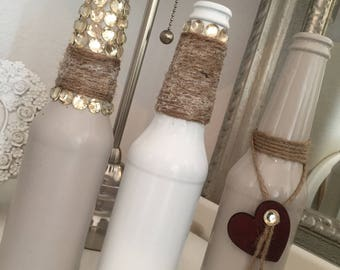 Set of 3 bespoke, handmade vases