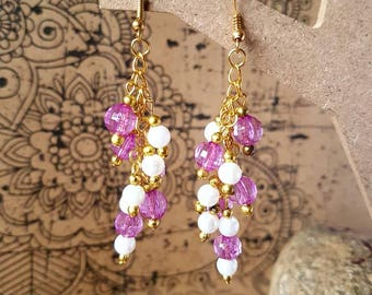 Purple and gold cluster earrings