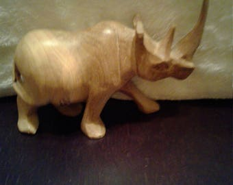 Wooden Hand Carved Rhinoceros
