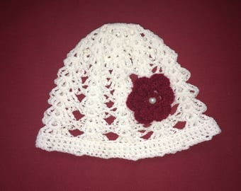 Hat, Baby Hat, Baby Girl Hat, New, With with Red Flower,
