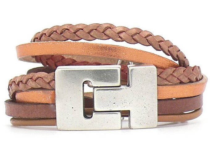 Bracelet Bracelet Leather Brown magnetic closure Dqmetaal Wrap Bracelet