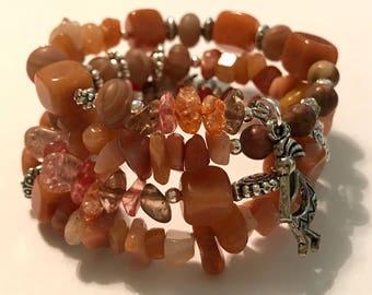 Orange memory wire cuff bracelet