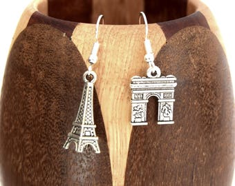 Monuments of Paris, Eiffel Tower and Arc de triomphe monument French earrings