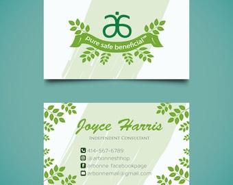Arbonne Business Cards, Custom Arbonne Business Card, Green Floral Arbonne Business Card, Custom Business Card, Printable Business Card AB11