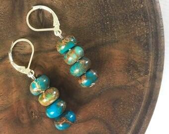 Jasper earrings, Hypoallergenic, Jasper jewelry, Turquoise earrings, Jewelry, Boho jewelry, Beaded earrings, Festival jewelry, Earrings